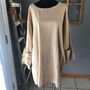 Zara Women's Tan Lagenlook Button Sleeve Dress 8